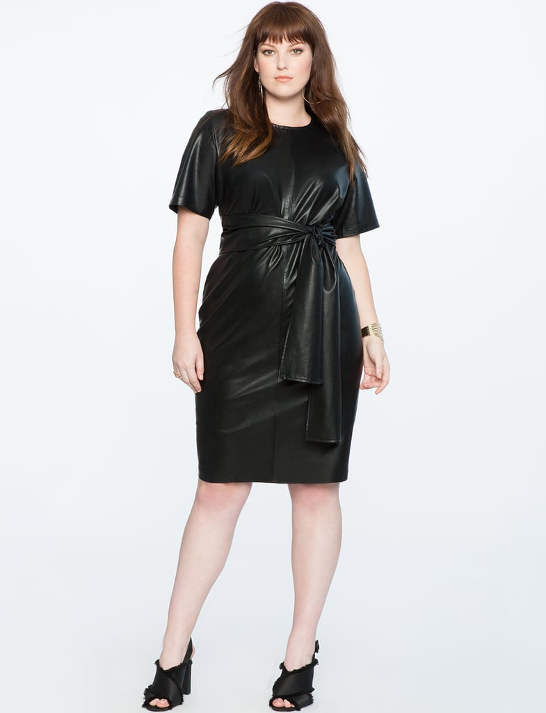 Eloquii Studio Tie-Waist Faux-Leather Dress