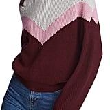 1.STATE Chevron Front Crewneck Cotton Sweater |