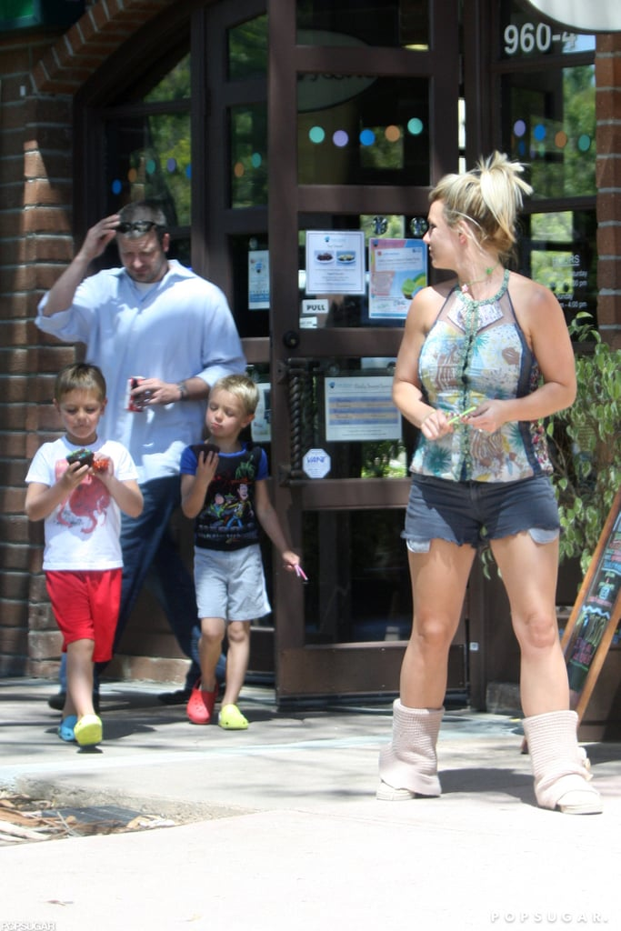 Britney Spears stopped at a cafe in Santa Barbara with her sons, Jayden James and Sean Preston, yesterday. The boys snacked on chocolate cupcakes while Britney led the way back to their car wearing cutoff shorts and a tight tank. Britney has been on the road recently in her new role for The X Factor. Last week she visited Kansas City, where she apparently showed off her tough side when she voted against one of the contestants during auditions. Britney and her fellow judges, Demi Lovato and L.A. Reid, will continue the talent search in San Francisco this weekend before heading to Rhode Island at the end of the month.  Britney's had a busy year so far, putting her in the running for the PopSugar 100. Robert Pattinson and Angelina Jolie are currently in the lead, so make sure to vote if you want Britney to make the top 10!