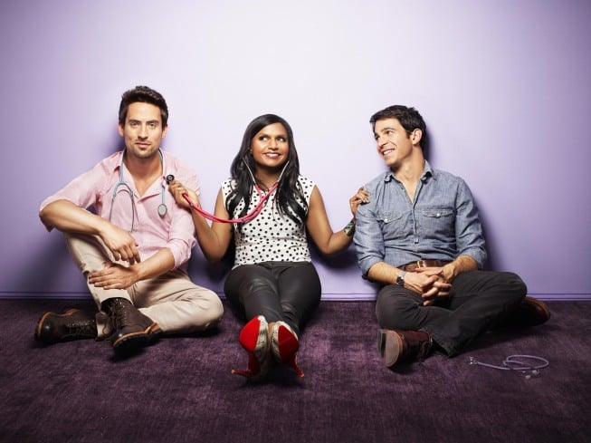 Ed Weeks, Mindy Kaling, and Chris Messina on The Mindy Project.