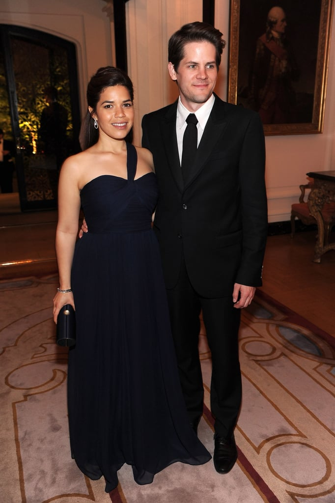 America Ferrera married her longtime boyfriend, Ryan Piers Williams, yesterday in New York state! The newlyweds borrowed her Ugly Betty costar Vanessa Williams's home in Chappaqua for the lavish event, which was officiated by their other castmate Judith Light. America's dress from Amsale's Christos line, as well as Fred Leighton jewelry.  Check out tons of other celebrity wedding pictures! The guest list was star-studded with Rebecca Romijn, Jerry O'Connell, and Mark Indelicato in attendance. The Sisterhood of the Traveling Pants contingent was well-represented too, with Alexis Bledel, Amber Tamblyn, and Blake Lively on hand. Blake, however, did not bring along her recent love interest, Leonardo DiCaprio. America and Ryan were engaged for just over a year, as she debuted her diamond ring last June at the Edinburgh Film Festival in Scotland. Her most recent acting work was a recurring role on The Good Wife, and hopefully America has enough time off to honeymoon with Ryan before she starts doing voice work for How to Train Your Dragon 2. Congrats to the happy couple.