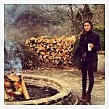 Lily Aldridge stayed warm by the fire at Blackberry Farm in Tennessee. Source: Instagram user lilyaldridge