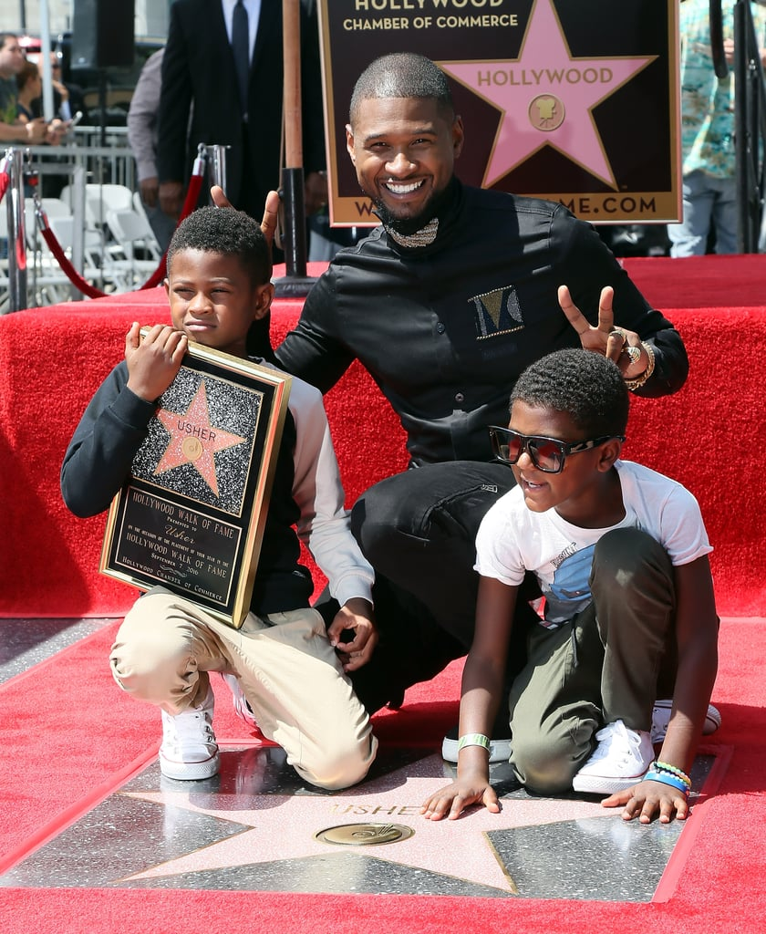 "Usher had two very special guests at his Hollywood Walk of Fame star ceremony in LA on Wednesday afternoon: his two sons, 7-year-old Naviyd and 8-year-old Usher Raymond V. The R&B singer was honored with the 2,588th star for being ""one of the most successful artists of our modern music world,"" but it was his kids, whom he shares with ex-wife Tameka Foster, who ended up stealing the show. After receiving his star, Usher celebrated his accomplishment by showering Naviyd and little Usher with kisses and posing for pictures together. At one point, his boys got silly and held up bunny ears over their dad's head.   Over the weekend, Usher attended Beyoncé's Soul Train-themed 35th birthday party along with Serena Williams, Alicia Keys, and Destiny's Child members Kelly Rowland and Michelle Williams. Fortunately, he was kind enough to record the adorable moment when Beyoncé and Jay Z's daughter, 4-year-old Blue Ivy, said, ""Happy birthday, Mommy!,"" into the microphone via Snapchat."