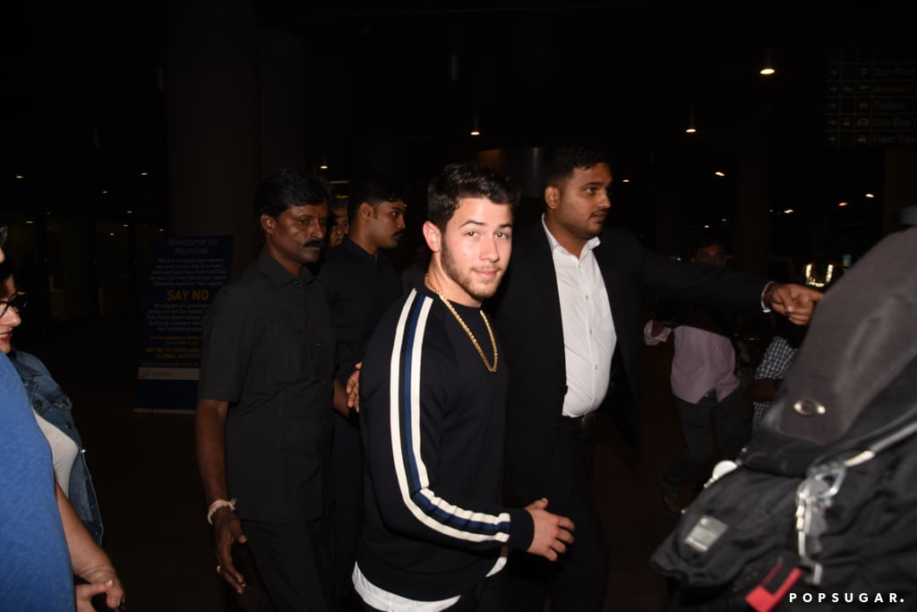 "Nick Jonas and his parents have touched down in India! On Thursday, the 25-year-old singer was photographed arriving at the airport in Mumbai with mom Denise and dad Kevin Sr. for an engagement party. According to Us Weekly, Nick is making the special trip to Priyanka's native country because it's ""a tradition to go and meet the family before the wedding."" Priyanka reportedly ""wants an Indian wedding"" and they ""want to get married very soon."" ""[Nick] is super supportive of her and he's thrilled,"" a source added.  Nick and Priyanka first sparked dating rumors in May and got engaged during Priyanka's 36th birthday celebration in London last month. This is Nick's second time in India; in June, Nick traveled to Mumbai with Priyanka, and he reportedly met her mom for the first time. Perhaps Nick wanted to get her blessing before he proposed?      Related:                                                                                                           We Finally Got a Glimpse of Priyanka Chopra's Engagement Ring, and Wow — It's Huge!"