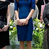 Kate's jewel-tone Erdem design was striking, but finished with just a touch of lace along the neckline, it felt sleek. She worked her trusty L.K. Bennett pumps with the dress for the Freedom of the City ceremony.