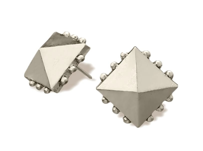 RACHEL Rachel Roy White Gold Tone Pyramid Stud Earrings ($20)