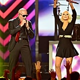 Pitbull and Christina Aguilera shared the stage during their performance.
