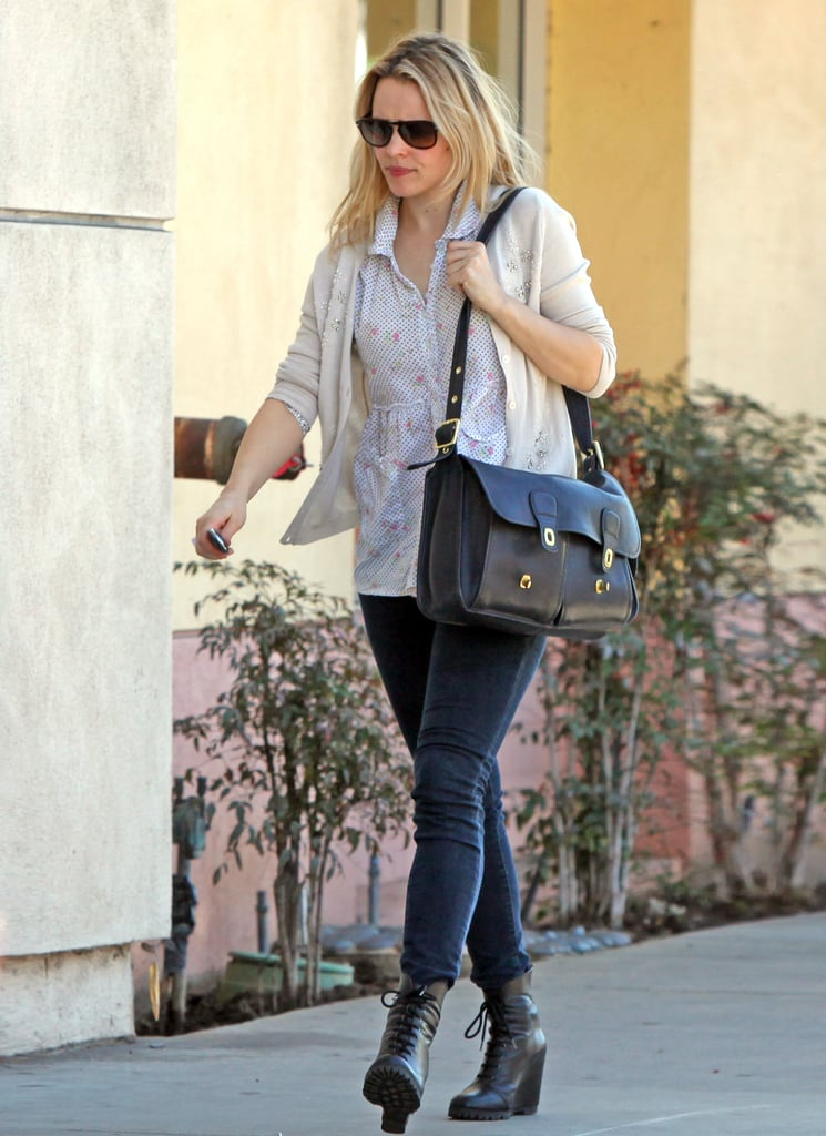 Rachel McAdams toted a covetable satchel and showed off a perfect pair of Winter ankle boots.