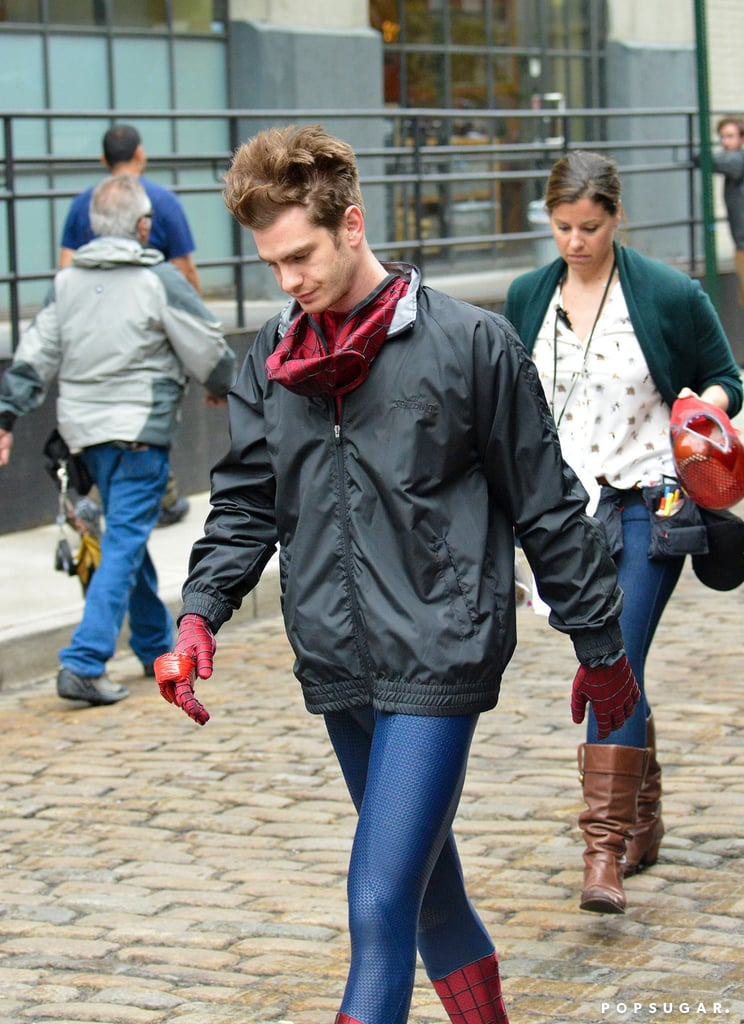 Andrew Garfield made his way down the street in NYC in his Spider-Man suit between filming.