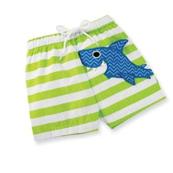 Mud Pie's Boathouse Shark Swim Trunks ($11-$26) infuse a blast of vibrant color into your little boy's beach day. This appliquéd creature of the sea features a fun chevron print and a full-on smile.