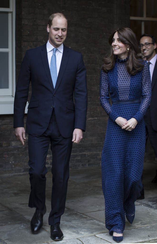 Kate Middleton and Prince William attended a reception at Kensington Palace before embarking on their much-talked-about tour of India and Bhutan on Wednesday. The royal couple's trip kicks off next week and marks their first official tour since they visited NYC in 2014. While there, Will and Kate, who donned matching blue ensembles, will visit Mumbai, where they will participate in a game of cricket, go to the lowest-income places in the city, and even check out the Bollywood nightlife. They will also be making stops in New Delhi, Kaziranga National Park, Bhutan, and finally, the Taj Mahal, which happens to be the very spot where Princess Diana made an iconic visit. Keep reading to see more of Will and Kate, and then see what they have lined up for the rest of the year.