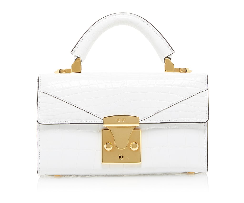 Stalvey Top Handle Mini Handbag in White Alligator
