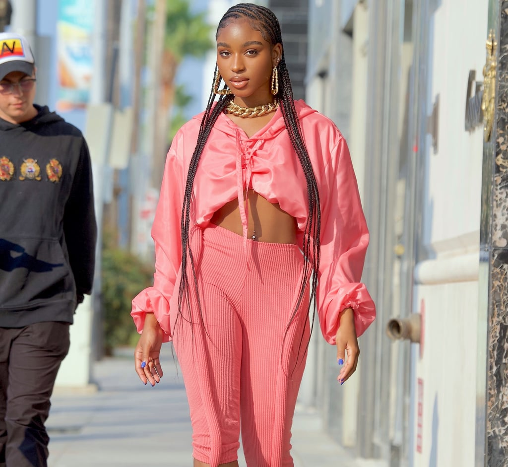 Normani Wears an All-Pink Athleisure Look With Lace-Up Heels