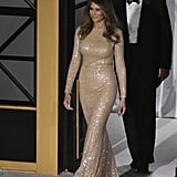 Melania attended a dinner in a floor-length gown from Reem Acra in January 2017.