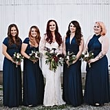 All of these bridesmaids wore navy in varying styles.