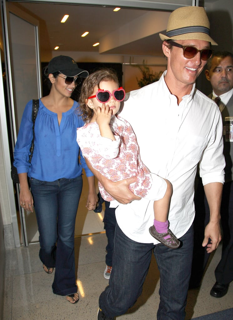 Matthew McConaughey held onto daugher Vida while making his way through LAX with Camila Alves and son Levi yesterday. The foursome has been hanging out on the West Coast for the past week while Matthew made a few promotional stops in LA. He teamed up with his Magic Mike costar Channing Tatum for multiple appearances, including a stop by Spike TV's Guys Choice Awards on Saturday and the MTV Movie Awards on Sunday. Be sure to check out all the photos from the MTV Movie Awards! Matthew's got a big Summer and Fall schedule ahead with Magic Mike out in theaters on June 29 followed by The Paperboy in November. Aside from his work on the big screen, Matthew's also gearing up for a TV role. He's starring with close friend Woody Harrelson in the prime-time series True Detectives about two law enforcement officers who continue crossing paths during an ongoing search for a serial killer.