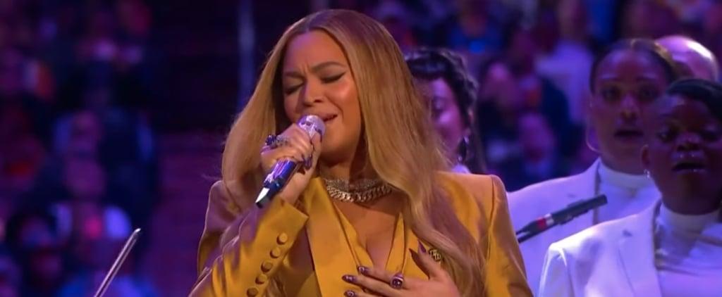 Beyoncé's Yellow Suit at the Kobe Bryant Memorial