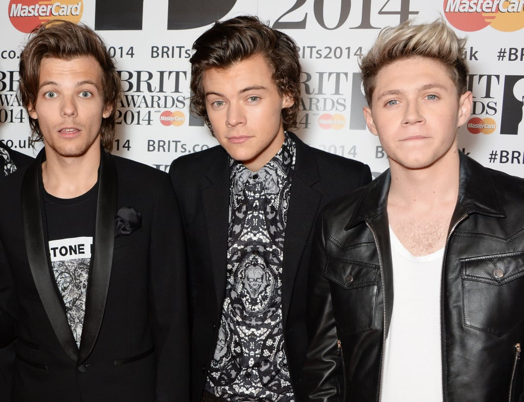 Louis Tomlinson, Harry Styles, and Niall Horan at the Brit Awards in 2014