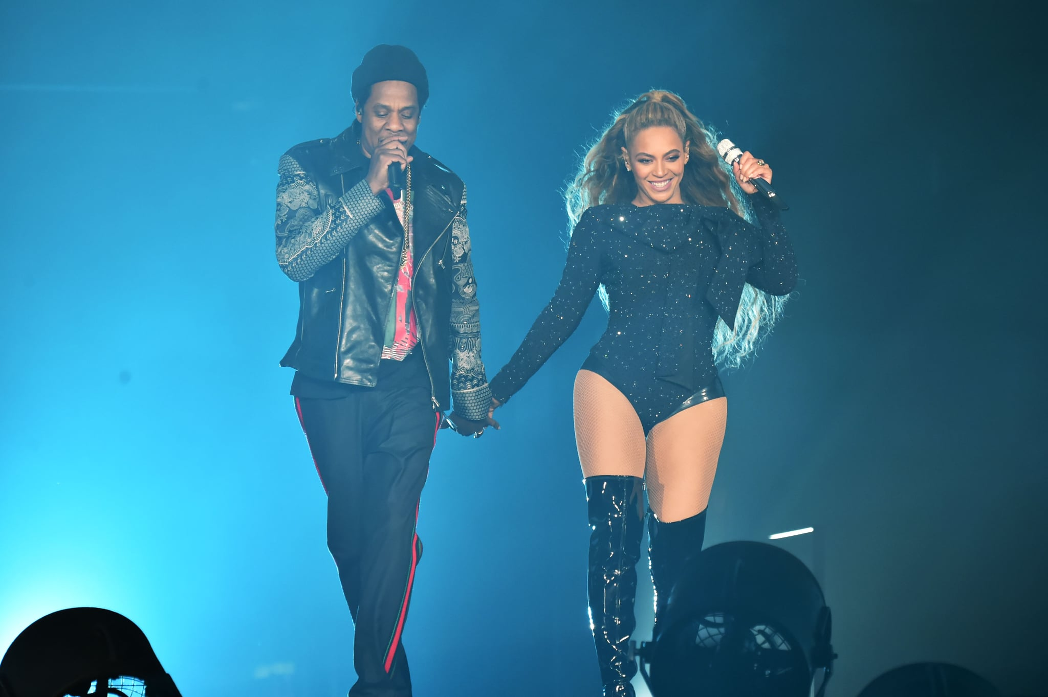 GLASGOW, SCOTLAND - JUNE 09:  Beyonce and Jay-Z perform together holding hands on stage during the