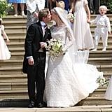 Lady Gabriella Windsor Wearing a Custom Luisa Beccaria Wedding Dress at Windsor Castle