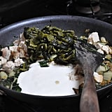 Fast and Easy Dinner: Creamy Chicken and Greens with Roasted Poblano Tacos