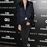Nora Zehetner joined Giorgio Armani and GQ in a borrowed-from-the-boys ensemble to screen The Counselor.