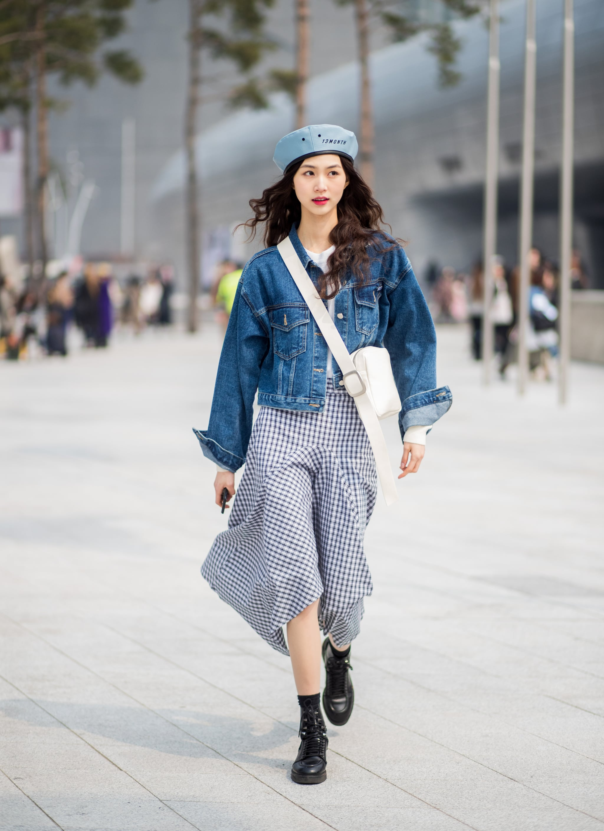 Team With A Printed Dress And Oversize Denim Jacket How To Wear A Beret Popsugar Fashion Uk Photo 17