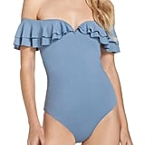 Becca Off-the-Shoulder Ruffle One-Piece Swimsuit