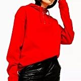 Topshop Red Half Zip Hoodie
