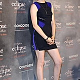 In a colorblocked Versace mini dress while promoting Eclipse in Germany in 2010.