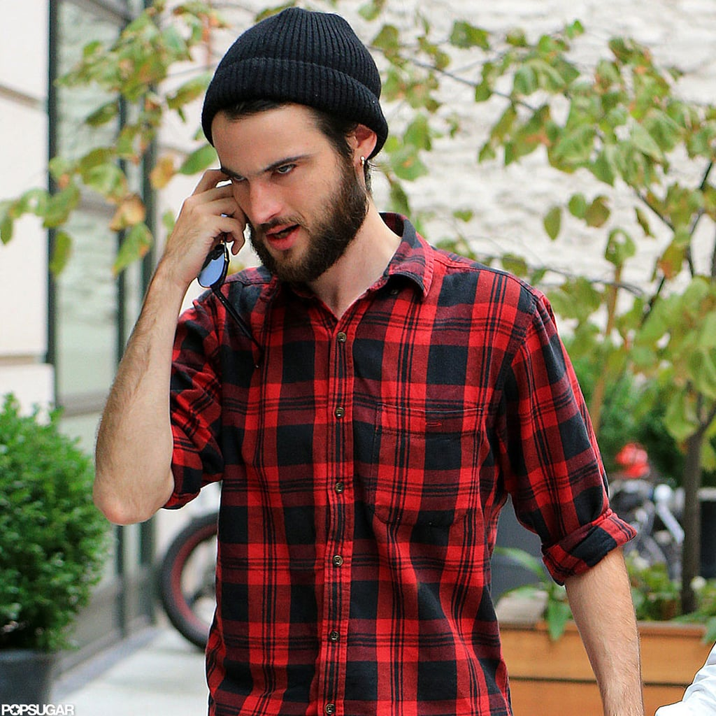 Tom Sturridge wore a flannel shirt out in NYC.