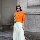 Autumn Outfit Idea: Orange Jumper + Slip Skirt + Trainers
