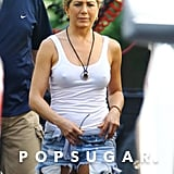 Jennifer Aniston showed off her legs in a pair of cutoffs on the set of We're the Millers.