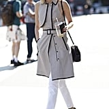 Give white jeans a Fall twist with a printed trench. Source: Greg Kessler