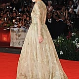 Keira Knightley in a long gown.