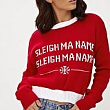 PrettyLittleThing Red Sleigh Ma Name Christmas Jumper
