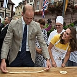 Kate and Will attempted to make pretzels in a German market.