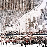 The Squaw Valley Winter Olympics in 1960 opened right on the snowy mountainside.
