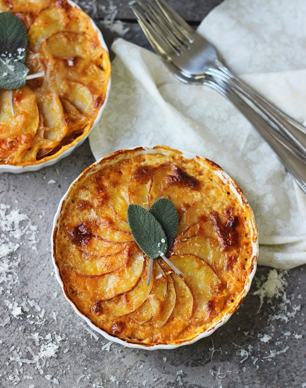 Pumpkin and Potato Gratins With Gruyère and Sage