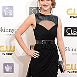 Jennifer Lawrence posed on the red carpet at the Critics' Choice Awards.