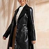 Shein Notched Collar Single Breasted Belted Faux Leather Coat