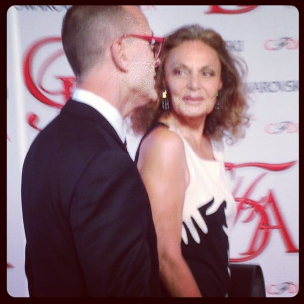 Diane von Furstenberg is one of the first to arrive on the red carpet.