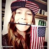 Jessica Biel accessorized appropriately for Team USA's match against Germany. Source: Instagram user jessicabiel