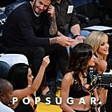 David Beckham sat courtside at the Lakers game.