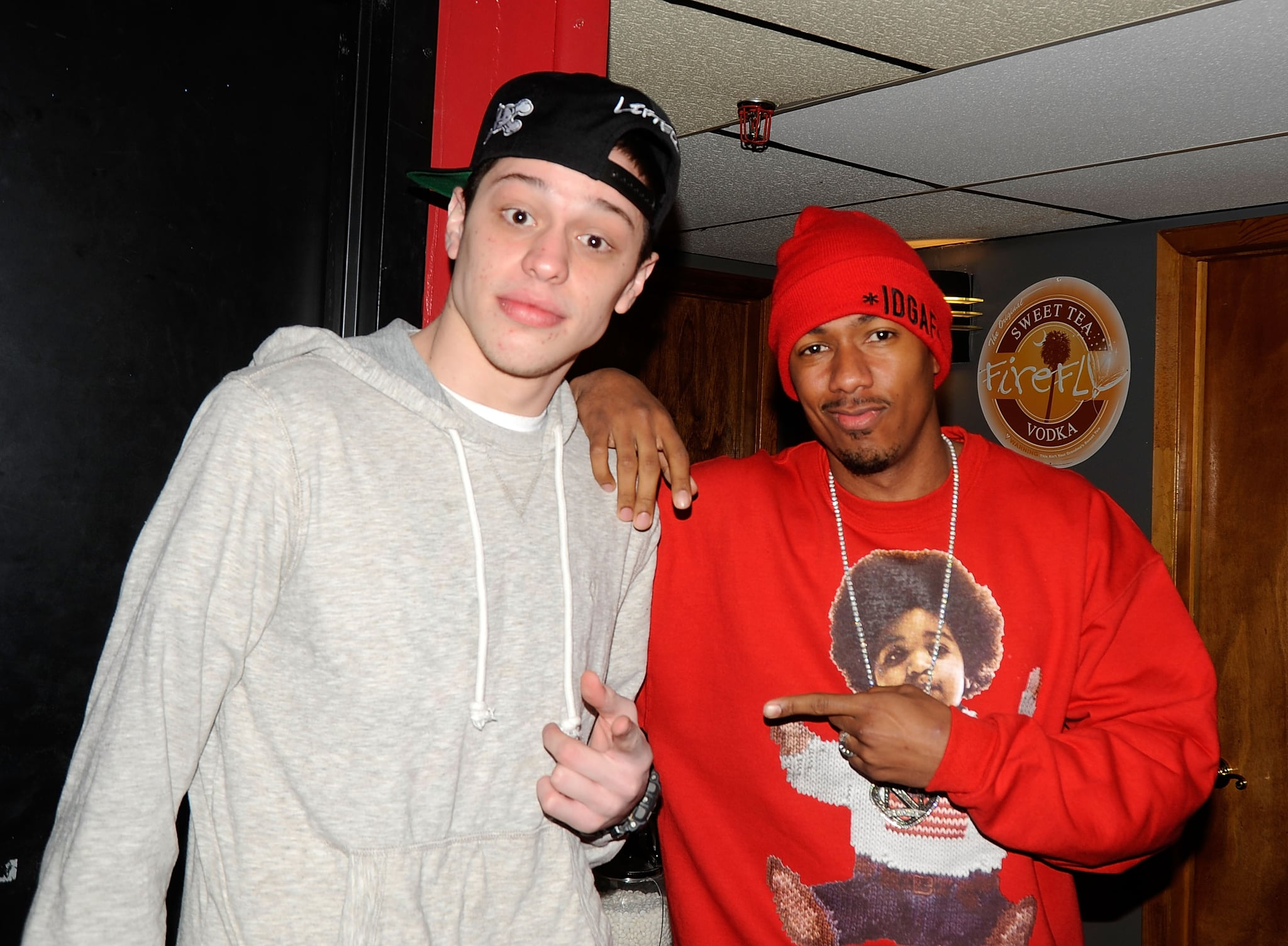 NEW BRUNSWICK, NJ - APRIL 04:  Pete Davidson and Nick Cannon backstage at The Stress Factory Comedy Club on April 4, 2013 in New Brunswick, New Jersey.  (Photo by Bobby Bank/WireImage)