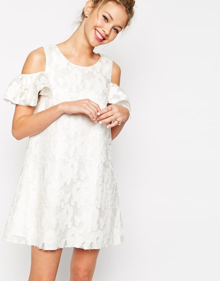 e35884dc22d78 Asos Textured Shift Dress with Lace Frill Cold Shoulder