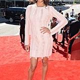 Zoe Saldana wore strappy heels on the red carpet.