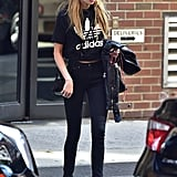 A Sporty-Style Tee and Statement Sunglasses