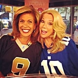 Hoda Kotb and Kathie Lee Gifford wore football jerseys to celebrate the NFL season kickoff. Source: Instagram user todayshow
