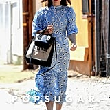Mandy Moore Blue Floral Dress by RIXO August 2019